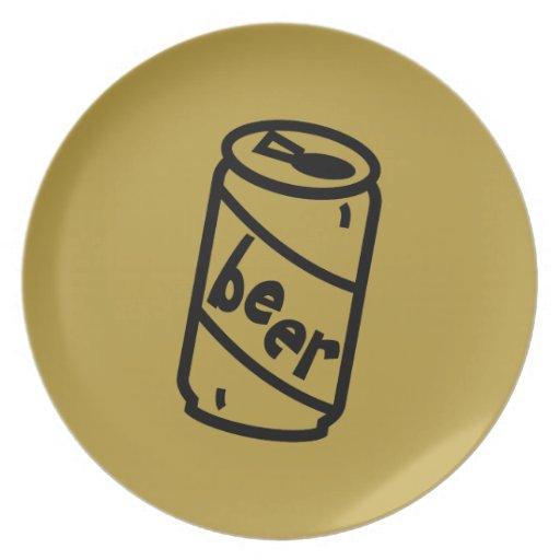 Lata de cerveza del dibujo animado - cualquiera co platos