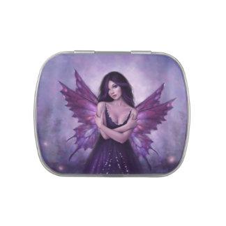 Lata de hadas del caramelo de la mariposa púrpura latas de caramelos