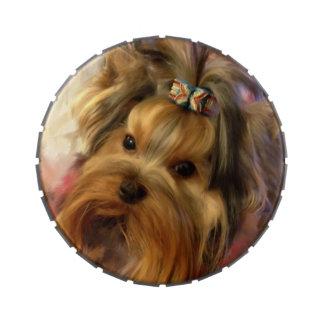 Lata de la broche del metal de Yorkshire Terrier Frascos De Caramelos