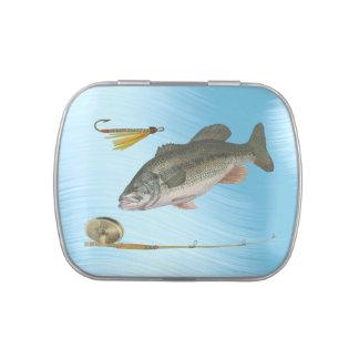 LATA DE LA PERCA AMERICANA FISHING-CANDY LATAS DE DULCES