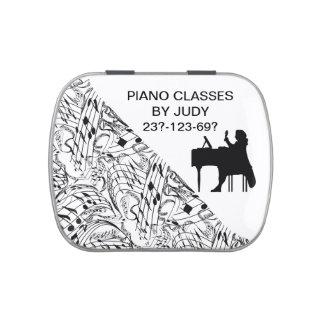 LATA DE PIANO-MUSIC NOTES-CANDY FRASCOS DE CARAMELOS