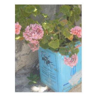 Lata del aceite de oliva en la floración postal