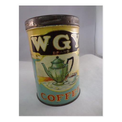 Lata del café, lata del vintage WGY Postales