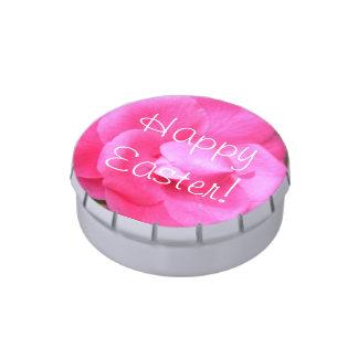 Lata del caramelo - camelias rosadas oscuras 1 jarrones de dulces