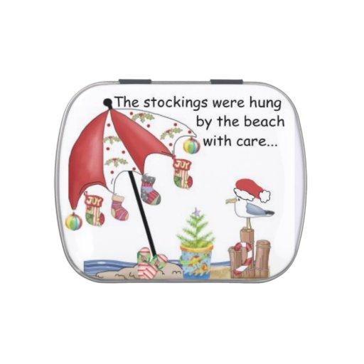 Lata del caramelo con navidad en el sur en la play jarrones de caramelos