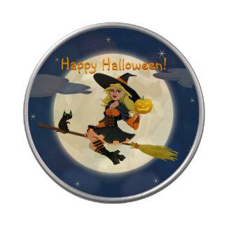 Lata del caramelo de la bruja del feliz Halloween Latas De Dulces