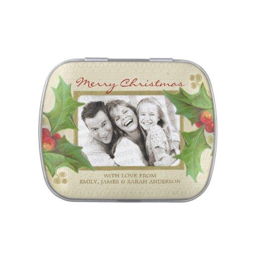Lata del caramelo de la foto del acebo del navidad jarrones de caramelos