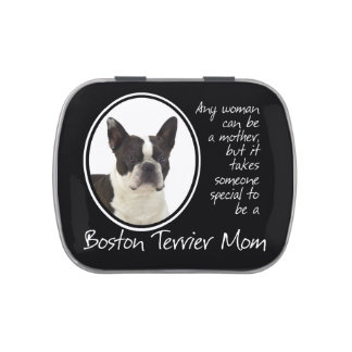 Lata del caramelo de la mamá de Boston Terrier Latas De Caramelos