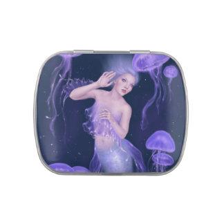 Lata del caramelo de la sirena de las medusas de jarrones de dulces