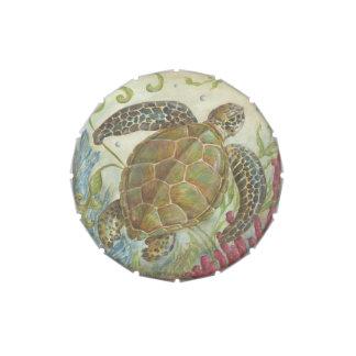 Lata del caramelo de la tortuga de mar jarrones de dulces