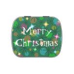Lata del caramelo de las Felices Navidad de las lu Frascos De Caramelos
