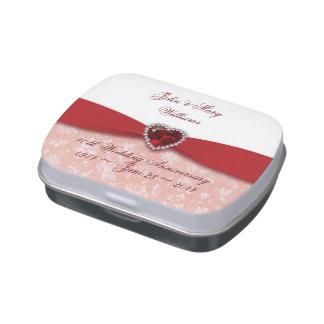 Lata del caramelo del aniversario de boda del dama frascos de dulces