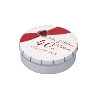 Lata del caramelo del aniversario de boda del jarrones de dulces