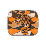 Lata del caramelo del arte abstracto del tigre
