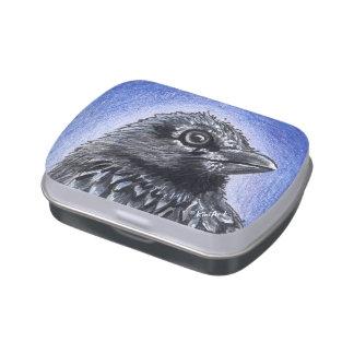 Lata del caramelo del arte del cuervo frascos de caramelos