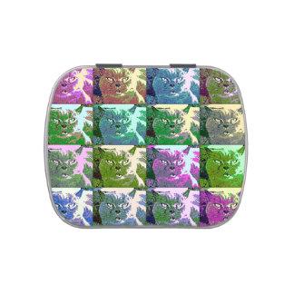 Lata del caramelo del arte pop del gato frascos de dulces