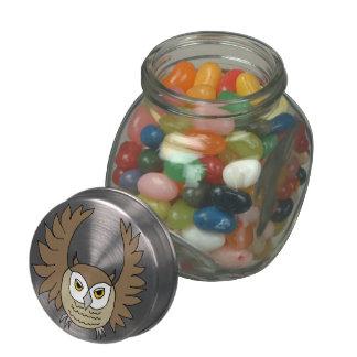lata del caramelo del búho del dibujo animado jarras de cristal