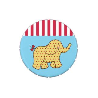 Lata del caramelo del elefante del circo jarrones de dulces