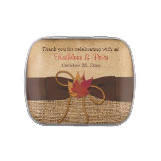 Lata del caramelo del favor de la arpillera de las frascos de caramelos