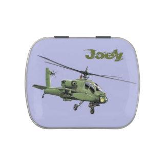 Lata del caramelo del helicóptero de Apache Latas De Caramelos