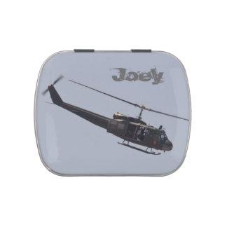 Lata del caramelo del helicóptero de Huey Frascos De Caramelos