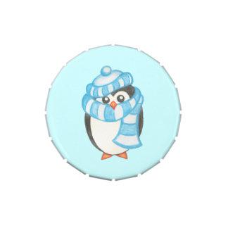 Lata del caramelo del pingüino jarrones de dulces