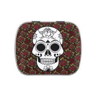 Lata del caramelo del Rockabilly del cráneo o caja Frascos De Caramelos