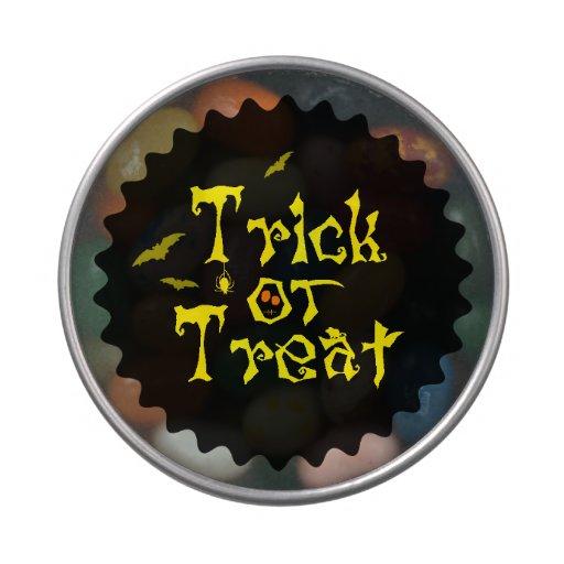 Lata del caramelo del truco o de la invitación de jarrones de caramelos