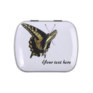 Lata del caramelo - mariposa amarilla de jarrones de caramelos