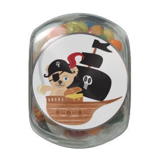 Lata del dulce del oso de peluche del pirata jarras de cristal jelly bely