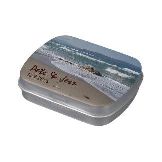 Lata del favor del boda de playa jarrones de caramelos