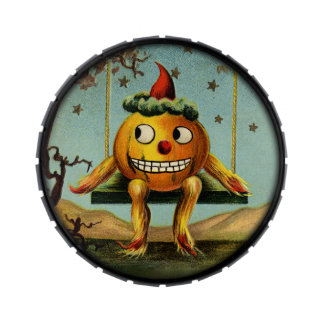 Lata del Jellybean de Halloween del vintage Jarrones De Dulces