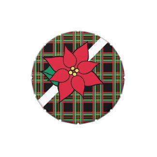 Lata del Poinsettia de la tela escocesa Jarrones De Dulces