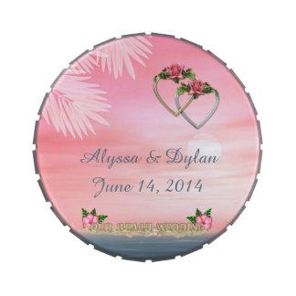 Lata del rosa del boda de playa latas de caramelos