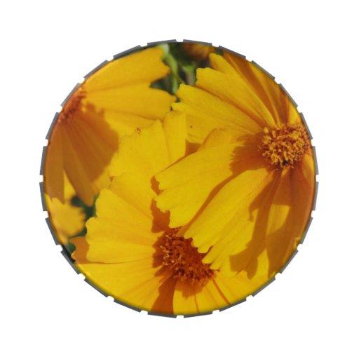 lata del vientre de la jalea de la flor frascos de caramelos