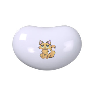 Lata dulce formada riñón. Gato v001. Jarrones De Caramelos