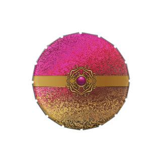 Lata elegante del rosa y del caramelo del favor de frascos de caramelos