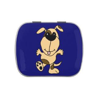 Lata feliz del caramelo del perro del baile latas de caramelos