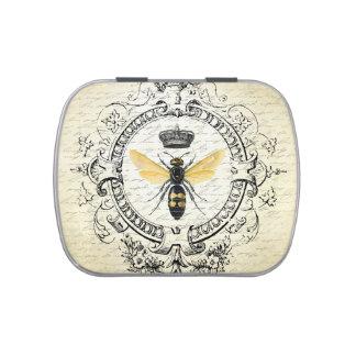 lata francesa de la menta de la abeja reina del jarrones de caramelos