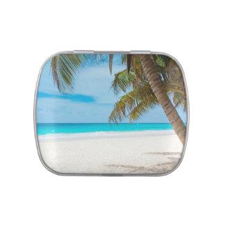 Lata hermosa de la playa del paraíso tropical y de frascos de caramelos