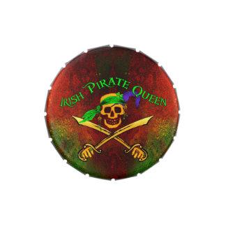Lata irlandesa del caramelo de la reina del pirata latas de dulces