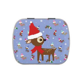 Lata linda del caramelo del navidad del reno jarrones de caramelos