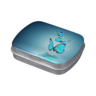 Lata mágica del caramelo de las mariposas latas de dulces