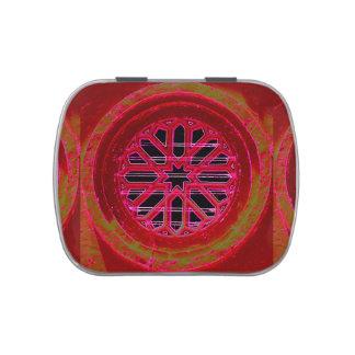 lata octagonal roja del caramelo de la mandala jarrones de caramelos