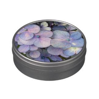 Lata personalizada Hydrangea azul del caramelo de  Jarrones De Caramelos