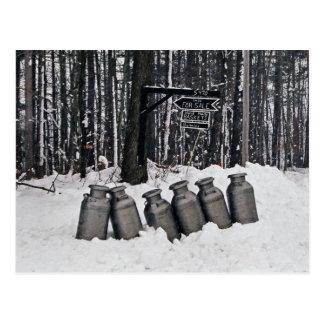 Lata-Postal de la leche de Amish