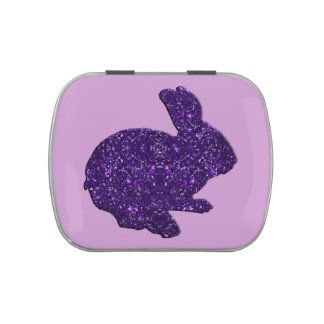 Lata púrpura del caramelo del conejito de pascua jarrones de caramelos