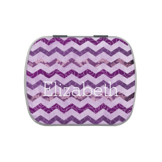 Lata púrpura del caramelo del modelo de Chevron de Frascos De Caramelos