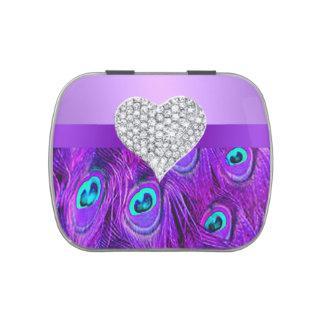 Lata púrpura del caramelo del pavo real del jarrones de dulces