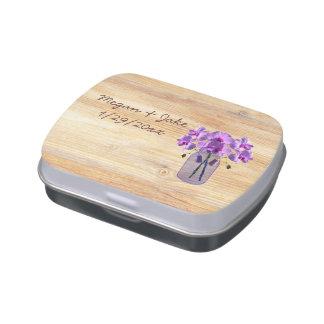 Lata púrpura rústica del caramelo de las orquídeas latas de caramelos